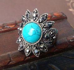 New fashion celebrity style round stone silver ring size 8 ssjz2lv8