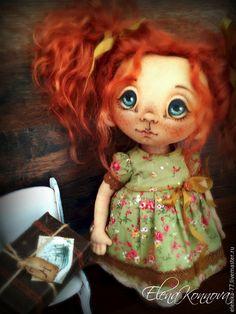 fabric art doll / Куклы тыквоголовки ручной работы. Ярмарка Мастеров - ручная работа. Купить Анфиска. Текстильная кукла. Handmade. Рыжий, кукла