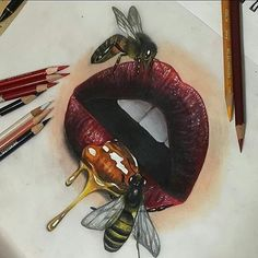 Pencil drawing by Happy Monday! Pencil drawing by . by worldofpencils Art Drawings Sketches, Cute Drawings, Lip Drawings, Colorful Drawings, Tattoo Sketches, Amazing Drawings, Amazing Art, Color Pencil Art, Color Pencil Drawings
