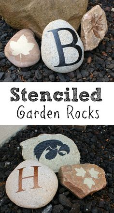 DIY Stenciled Garden Rocks. Perfect Mother's Day gift for my mom who loves her garden AND handmade gifts. | sometimes-homemade.com