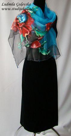 Natural silk shawl floral ocean blue hand painted by Studijakalla