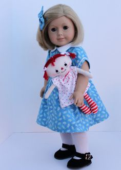 1930s Blue Dress and Raggedy Ann For American by BrooksideLane, $52.00