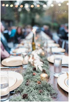 Moss was the perfect choice for an elegant and earthy centerpiece. Setting Option, Centerpieces, Table Decorations, Wedding Proposals, A Perfect Day, Table Arrangements, October Wedding, Intimate Weddings, Earthy
