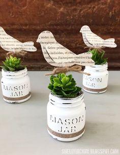 Stamptramp: DecoArt Chalk Paint Mini Mason Jar Planters