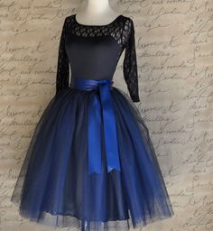 Navy blue tulle skirt tutu for women lined par TutusChicOriginals