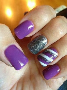 purple mani, this article says purple in all shades express elegance....I concur #purple #stripe #glitter