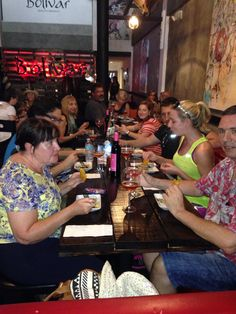 Festive group enjoying the Peruvian Ceviche, Columbian Empanadas and refreshing Refajo @ Bolivar - SOBE food tour - 10/10/15