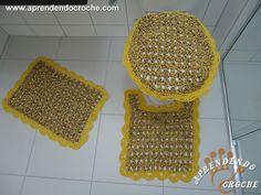 Jogo de Banheiro Crochê Firenze-Capa Tampa do Vaso - Jogos Banheiro Crochê