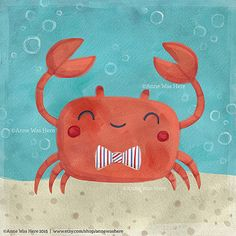 Let your child's imagination set sail with this delightful dancing crab, designed by Anne Bollman. This kid's canvas art is perfect for an animal or ocean themed nursery! Combine with other animal art from her collection for a charming wall galler Nautical Art, Art For Kids, Art Prints, Art Wall Kids, Crab Art, Cute Art, Kids Canvas Art, Art, Canvas Art