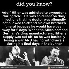 Adolf Hitler was addicted to oxycodone during WWII. He was so reliant on daily injections that his doctor was allegedly not allowed to attend his own brother's funeral because he would have been away for 2 days. When the Allies bombed Germany's drug...