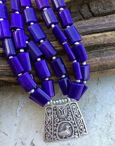 Chunky purple Jade bead strands with a matte silver Tribal Pendant from Istanbul and Czech glass beads and matching earrings = Magic! Handmade in WA. Ships Free