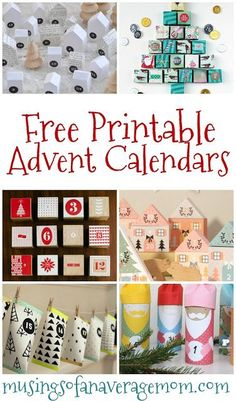 Free printable Christmas advent calendars.