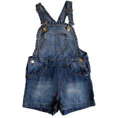 Jardineira Infantil em Jeans Coração e Camiseta Borboletas - Moda Infantil para meninas é na EcaMeleca Kids - EcaMeleca