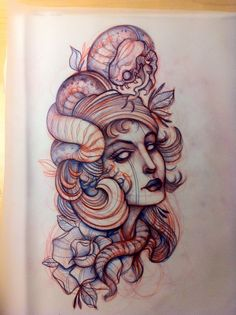 Snake Woman Tattoo Sketch
