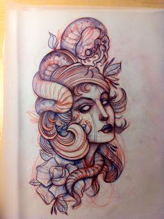 Snake Woman Tattoo Sketch