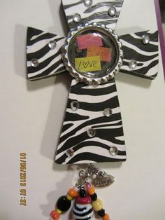 Live Laugh Love Wood Hanging Cross w/Beads & by TheScrappyWabbit, $9.95