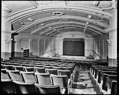 Empress Theatre, Prahran  View from balcony down to curtained screen, showing seating, stage and decorative, arched ceiling. From the Harold Paynting Collection.