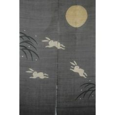 Japanese Noren Jumping Rabbits Under Yellow Moon