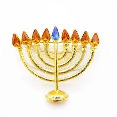 Menorah Pin Brooch Hanukkah Jewelry P1720105