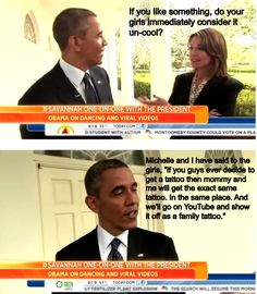 President Obama on how he discourages his daughters from getting tattoos.