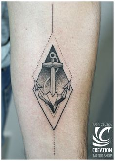 anchor tattoo dotwork geometric tattoo blackwork by Zsuzsa Fábri at Creation Tattoo Shop Budapest www.facebook.com/creationtattooshop