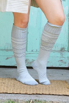 Grey Scandinavian Pattern Knee High Socks | peonyandmoss