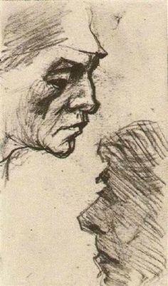 Two Heads of Men - Vincent van Gogh