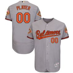 a42026046 Men Baltimore Orioles Majestic Road Gray 2017 Authentic Flex Base Custom  MLB Jersey with Commemorative Patch
