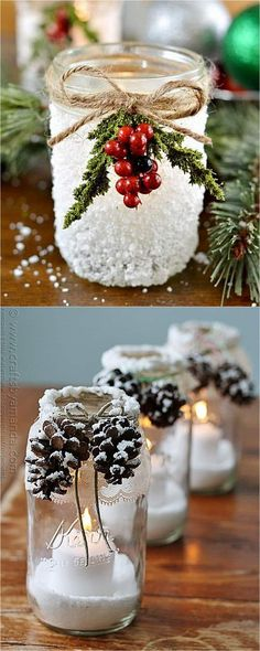13 & 14 . Add leaves and flowers Faux leaves and flowers can add lovely details! These batter powered LED string lights would be perfect for the decoupages leaf jars or the hanging mason jar vases ( source lost, please let me know if you find the original image source)! 15, 16 & 17 ....Read More