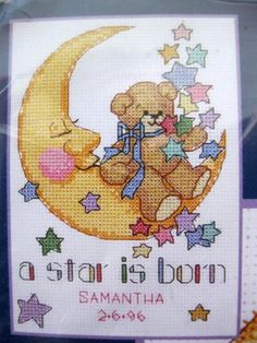 Sleepy Moon Birth Record Cross Stitch Kit      Price: $6.00  Oh my god, this was the first cross stitch pattern I ever made!