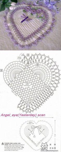 Салфетка сердечко крючком | Laboratory household