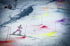 Watch skier Marcel Hirscher's crazy colour explosion