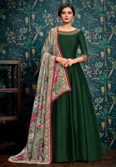 Buy Dark Green Embroidered Abaya Style Anarkali Suit online, SKU Code: This Green color Party anarkali suit for Women comes with Embroidered Faux Georgette. Source by dresses indian Designer Anarkali Dresses, Designer Party Wear Dresses, Kurti Designs Party Wear, Indian Designer Outfits, Shadi Dresses, Indian Gowns Dresses, Pakistani Dresses, Pakistani Clothing, Flapper Dresses