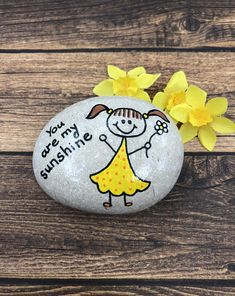 You Are My Sunshine Painted Rock, Custom Hand Painted Stone, Sunshine Painted Rocks, Affirmation Stones How many times have you said You Are My Sunshine to your son or daughter! Give them this painted rock that can be used a. Rock Painting Patterns, Rock Painting Ideas Easy, Rock Painting Designs, Easy Paint Designs, Pebble Painting, Pebble Art, Stone Painting, Painted Rocks Craft, Hand Painted Rocks