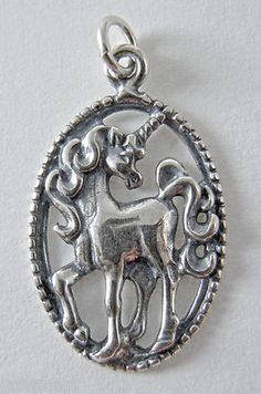 Sterling .925 Silver Unicorn In An Oval Charm Pendant NEW