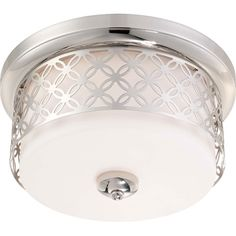 Margaux Polished Nickel Two-Light Flush Dome Fixture w/Satin White Glass