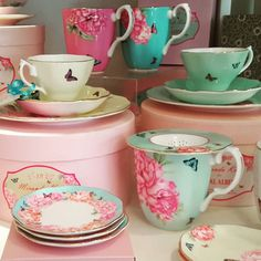 All the pretty tea cups. Must drink more tea this year. #teatime #omg #teacups #teacups #teaparty #twitter