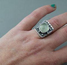 EC...Temple.....Prehnite sterling ring by EndangeredCreations