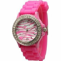 Hot Pink Zebra Silicone Watch w/ CZ Crystal Rhinestones Ceramic Look Exquisite Collections. Save 59 Off!. $8.29. Silicone Style Soft, Bendable, Flexible Band. Approximately 1.5 inches face. Very fashionable and stylish. Makes a great gift!. Japan Quartz Movement. Easy Read Numbers