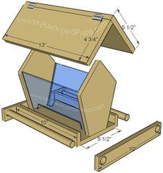 "BirdfeederHow to build a bird feeder (part 1) (part 2)    Material needed:    5 1/2"" x 6' cedar (cedar fence board)    1 1-4"" finish nails    3/8"" dowel    2 hinges"