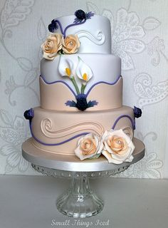 """Toni"" Wedding Cake | smallthingsiced.com thistles calla lily roses fondant swirls fondant sugarpaste"