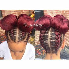 35 Absolutely Beautiful Feed In Braid Hairstyles - Part 23 Feed in braids are a popular protective style that's created with hair extensions which are fed into each braid starting near the roots of the hair. Feed In Braids Hairstyles, Girl Hairstyles, Braided Hairstyles, Black Hairstyles, Hairstyles Pictures, Braided Updo, Two Braids Hairstyle Black Women, Hairstyles 2018, Curly Hair Styles