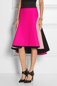 Milly|Asymmetric melton wool-blend and satin skirt|NET-A-PORTER.COM