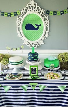 This blue and green whale-themed party is a bright and colorful way to celebrate your kid's first birthday!