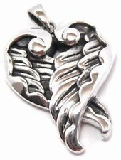 Large 925 Sterling Silver Guardian Angel Wings Love Heart Pendant