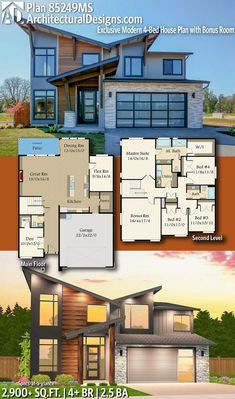 Plan Exclusive Modern House Plan with Bonus Room - Architectural Designs Exclusive House Plans - Architecture Sims 4 Modern House, Modern House Plans, Small House Plans, Modern House Design, Modern Floor Plans, Sims 4 House Plans, Dream House Plans, House Floor Plans, Architectural Design House Plans
