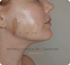 Armani Luminous Silk Foundation Swatches | 4.25 – 4.5 – 5 – 5.5 Foundation Tips, Georgio Armani Foundation, Foundation Application, Skin Photo, Eye Makeup Tips, Eyeliner Makeup, Drugstore Makeup, Makeup Products, Beauty Makeup