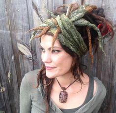 Felted Seaweed Dread Wrap Felted Headscarf Hippy by Cocoleeko