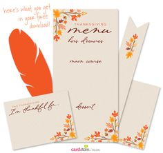 Give thanks in style - free Thanksgiving printables to dress up your table | Cardstore Blog