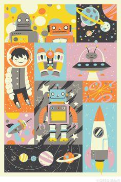 robot, space, illustration, rocket, kid, design, spaceship, ufo, alien